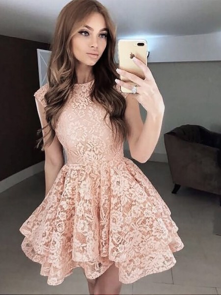 A-Line Scoop Sleeveless Lace Short Dress