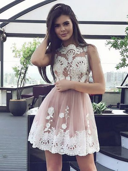 A-Line Scoop Sleeveless Lace Short Chiffon Dress