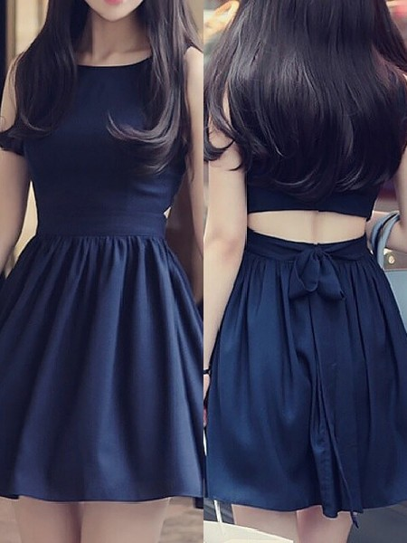 A-Line Scoop Sleeveless Short Chiffon Dress