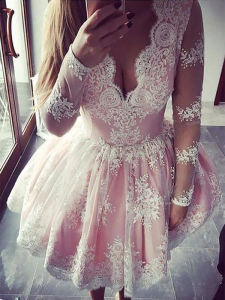 A-Line V-neck Long Sleeves Lace Short Dress