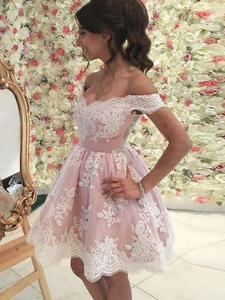 A-Line Off-the-Shoulder Sleeveless Applique Short Tulle Dress