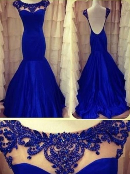 Trumpet/Mermaid Scoop Sleeveless Beading Floor-length Taffeta Dresses
