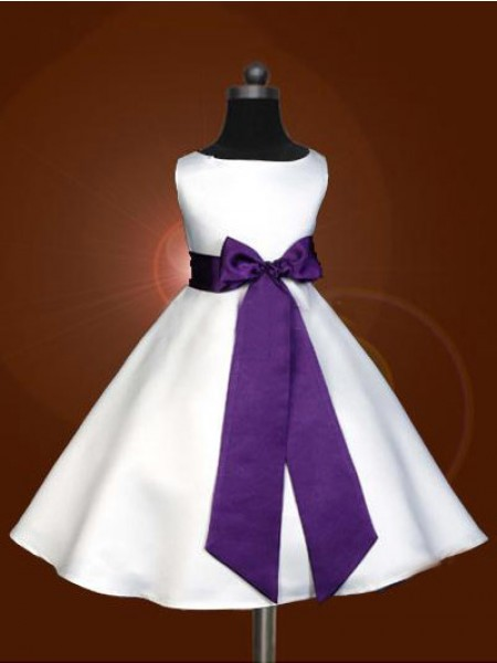 A-Line/Princess Scoop Bowknot Ankle-length Satin Flower Girl Dresses