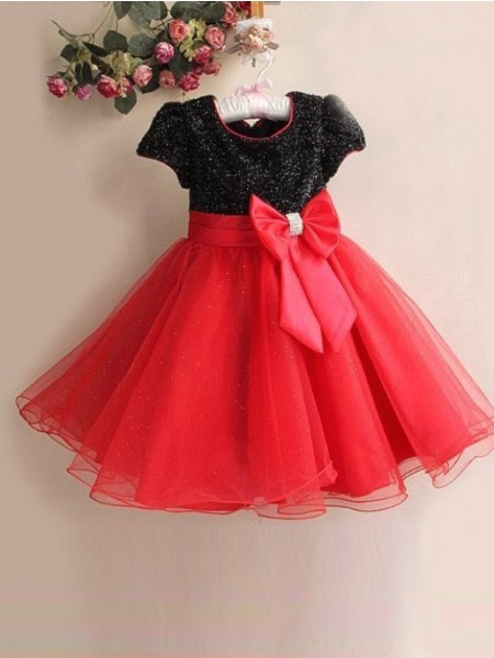 A-Line/Princess Scoop Bowknot Tea-length Organza Flower Girl Dresses