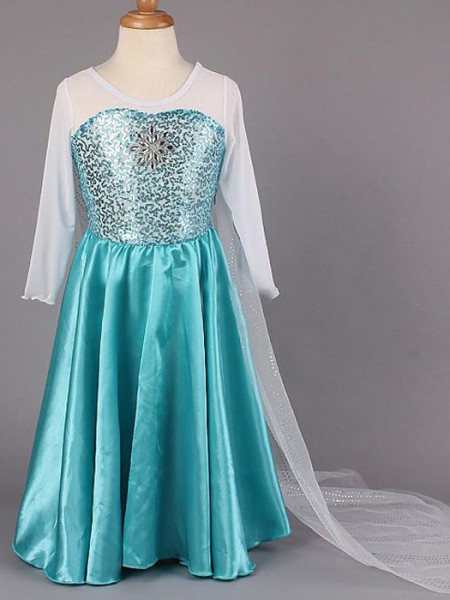 A-Line/Princess Scoop Floor-length Satin Flower Girl Dresses with Beading