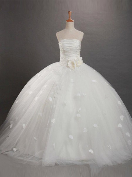 Ball Gown Strapless Floor-length Tulle Flower Girl Dresses with Ruffles