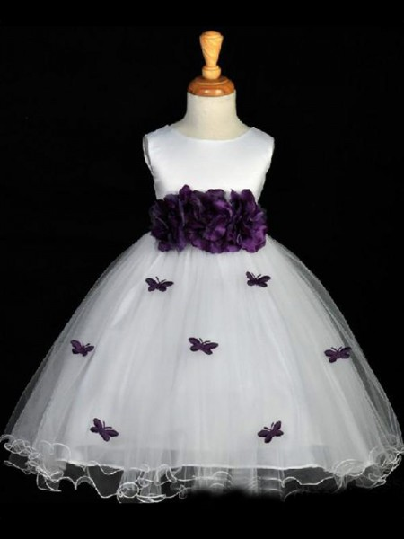 A-Line/Princess Scoop Ankle-length Organza Flower Girl Dresses with Hand-Made Flower