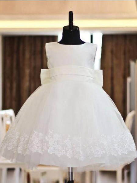 A-Line/Princess Scoop Floor-length Organza Flower Girl Dresses with Lace