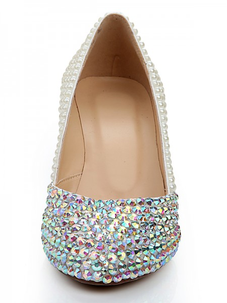 Women's Patent Leather Wedge Heel With Rhinestone Pearl Shoes