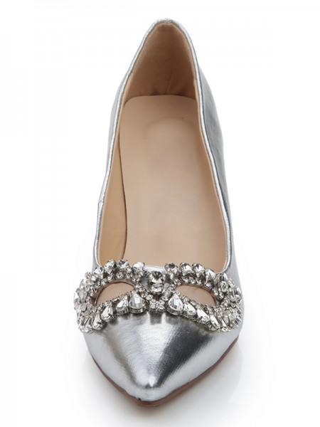 Women's Sheepskin Closed Toe Stiletto Heel With Rhinestone Wedding Shoes