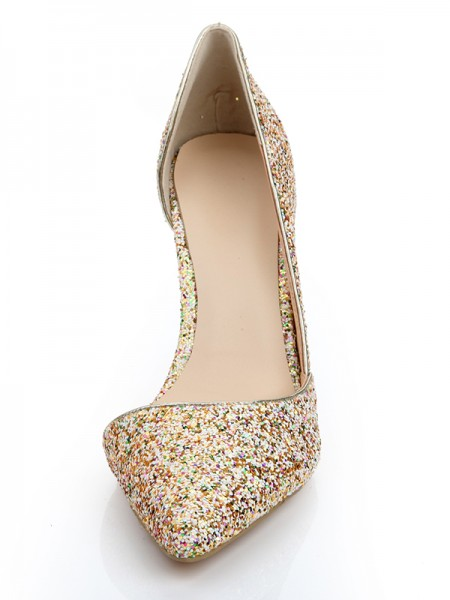 Women's Patent Leather Closed Toe Stiletto Heel With Sequin Shoes