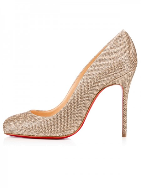 Women's Closed Toe Sparkling Glitter Stiletto Heel Party Shoes