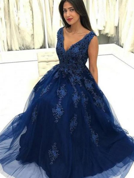 A-Line/Princess V-neck Floor-Length Tulle Dresses