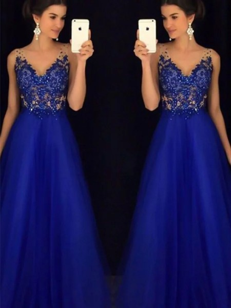 A-Line/Princess V-neck Floor-Length Tulle Dresses with Applique