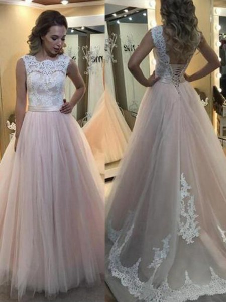 A-Line/Princess Bateau Sweep/Brush Train Lace Tulle Dresses