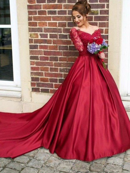 A-Line/Princess V-neck Sweep/Brush Train Lace Satin Dresses