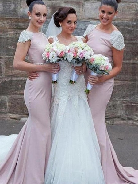Trumpet/Mermaid Bateau Sweep/Brush Train Satin Bridesmaid Dresses