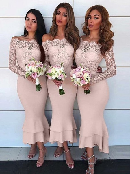 Sheath/Column Off-the-Shoulder Ankle-Length Jersey Bridesmaid Dresses
