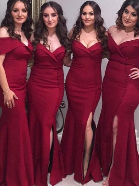 Sheath/Column Off-the-Shoulder Floor-Length Satin Bridesmaid Dresses