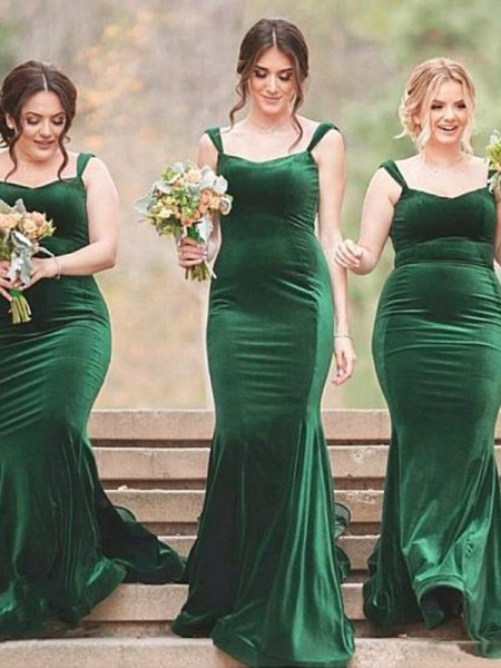 Sheath/Column Sweep/Brush Train Spaghetti Straps Velvet Bridesmaid Dresses