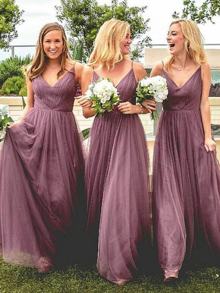 A-Line/Princess Spaghetti Straps Floor-Length Tulle Bridesmaid Dresses