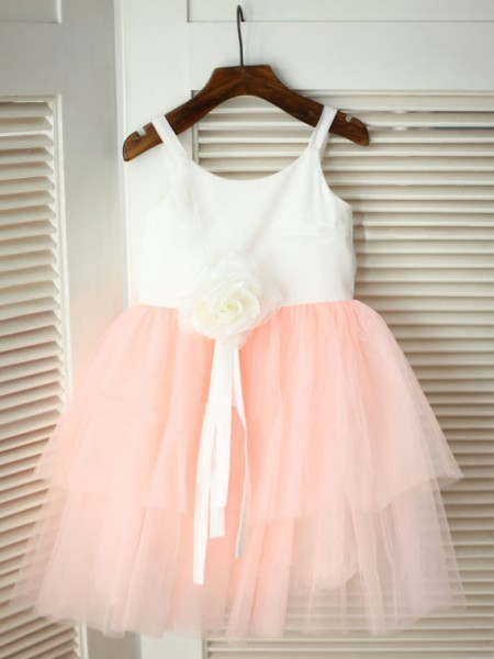 A-line/Princess Spaghetti Straps Tea-length Tulle Flower Girl Dress with Hand-made Flower