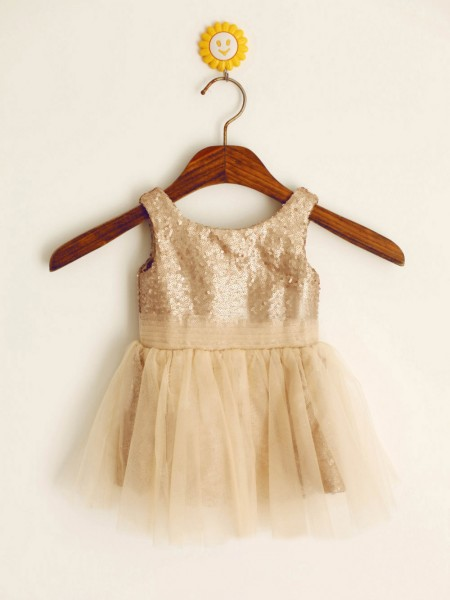 A-line/Princess Scoop Knee-length Flower Girl Dress with Sequins