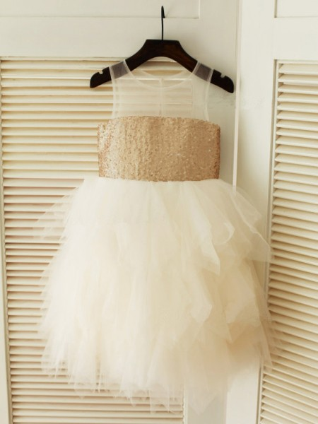 Ball Gown Scoop Tea-length Tulle Flower Girl Dress with Ruffles