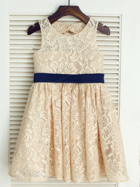 A-line/Princess Scoop Tea-length Lace Flower Girl Dress with Bowknot
