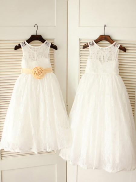A-line/Princess Scoop Ankle-length Lace Flower Girl Dress with Sash/Ribbon/Belt