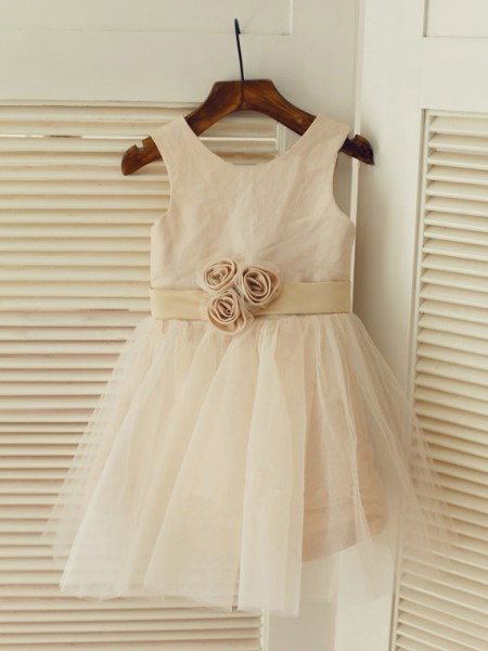 A-line/Princess Scoop Tea-length Tulle Flower Girl Dress with Sash/Ribbon/Belt