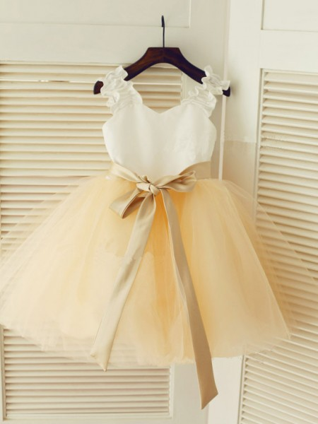 Straps Ball Gown Tea-length Tulle Flower Girl Dress with Sash/Ribbon/Belt