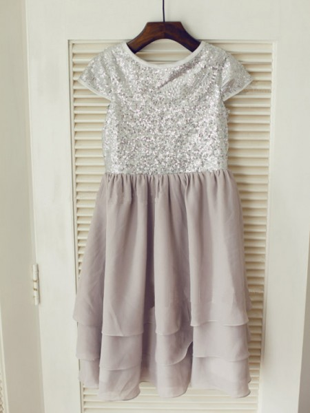 A-line/Princess Jewel Short Sleeves Tea-length Chiffon Flower Girl Dress with Sequins