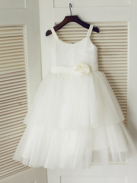 A-line Spaghetti Straps Tea-length Tulle Flower Girl Dress with Hand-made Flower