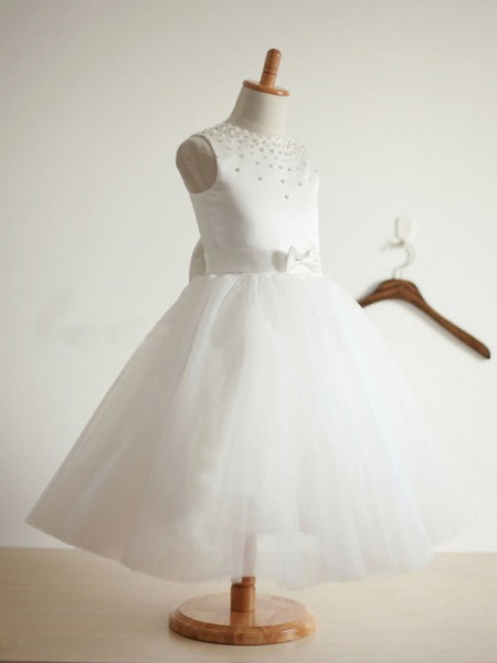 Ball Gown Jewel Tea-length Tulle Flower Girl Dress with Bowknot