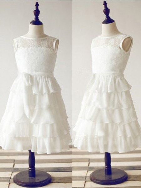 A-line Scoop Tea-length Chiffon Flower Girl Dress with Lace