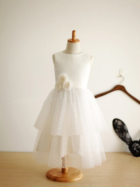 A-line/Princess Jewel Tea-length Tulle Flower Girl Dress with Hand-made Flower