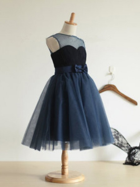 Ball Gown Jewel Tulle Tea-length Flower Girl Dress with Bowknot
