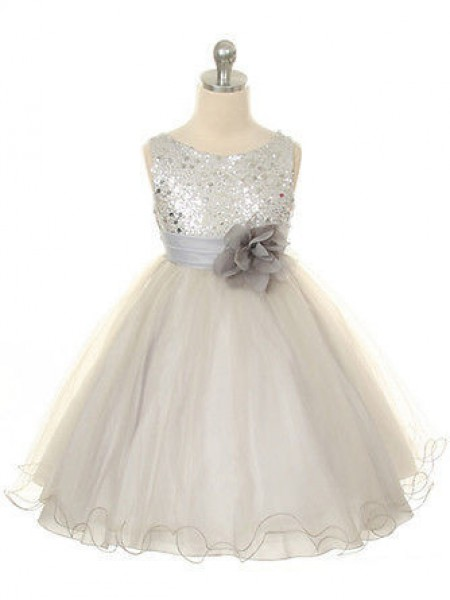Ball Gown Jewel Tea-Length Organza Flower Girl Dress with Hand-made Flower