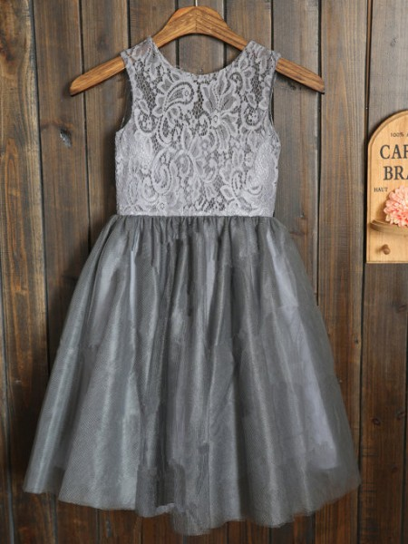 A-line/Princess Scoop Tulle Tea-length Flower Girl Dress with Sash/Ribbon/Belt