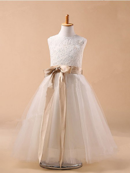 Ball Gown Jewel Tulle Flower Girl Dress with Bowknot