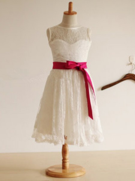 Jewel A-line/Princess Tea-length Lace Flower Girl Dress with Sash/Ribbon/Belt